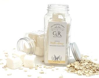 MILK + HONEY   exfoliating body sugar cubes  phthalates - detergent and paraben Free   The Graceful Rabbit