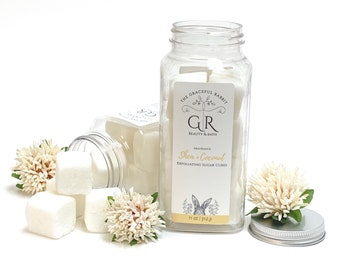 SHEA + COCONUT   exfoliating body sugar cubes   phthalates - detergent and paraben Free   The Graceful Rabbit