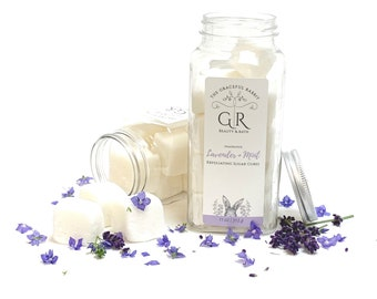 LAVENDER MINT   exfoliating body sugar cubes   phthalates - detergent and paraben Free   The Graceful Rabbit