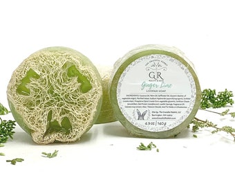 GINGER LIME   natural loofah sponge soap   phthalates - detergent and paraben Free   The Graceful Rabbit