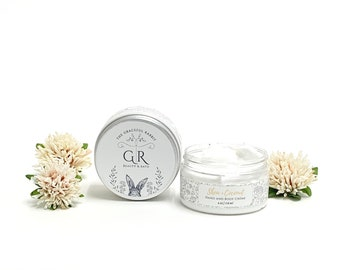 SHEA + COCONUT   hand and body creme'    made with goat milk   Paraben - Phthalate and Cruelty Free    The Graceful Rabbit