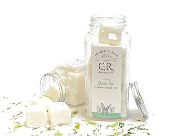 GREEN TEA   exfoliating body sugar cubes  phthalates - detergent and paraben Free   The Graceful Rabbit