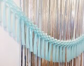 Light Blue Fringe Garland 10ft - honeycomb decor tissue fan bunting - Photo Backdrop wedding baby shower first birthday girl wall decor