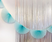 Pastel Blue Paper Fan Garland 10ft - honeycomb decor tissue fan bunting - Photo Backdrop wedding baby shower first birthday boy wall decor