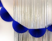 Vivid Cobalt Blue Paper Fan Garland 10ft - honeycomb decor tissue fan bunting - Photo Backdrop wedding baby shower first birthday boy wall