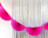 Hot Pink Paper Fan Garland 10ft - honeycomb decor tissue fan bunting - Photo Backdrop wedding baby shower first birthday boy wall decor
