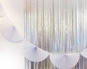White Paper Fan Garland - 10ft - honeycomb decor tissue fan bunting - Photo Backdrop wedding engagement birthday first birthday wall decor