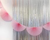 Pink Paper Fan Garland 10ft - honeycomb decor tissue fan bunting - Photo Backdrop wedding baby shower girl flamingo first birthday valentine