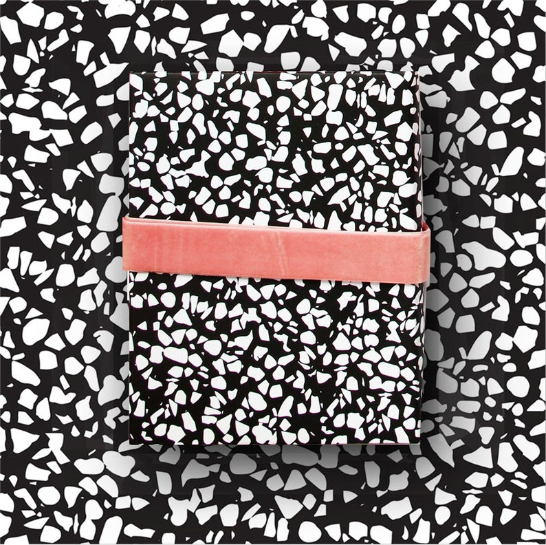 Terrazzo Memphis Speckle Gift Wrap black white wrapping  eab06d90a99f1