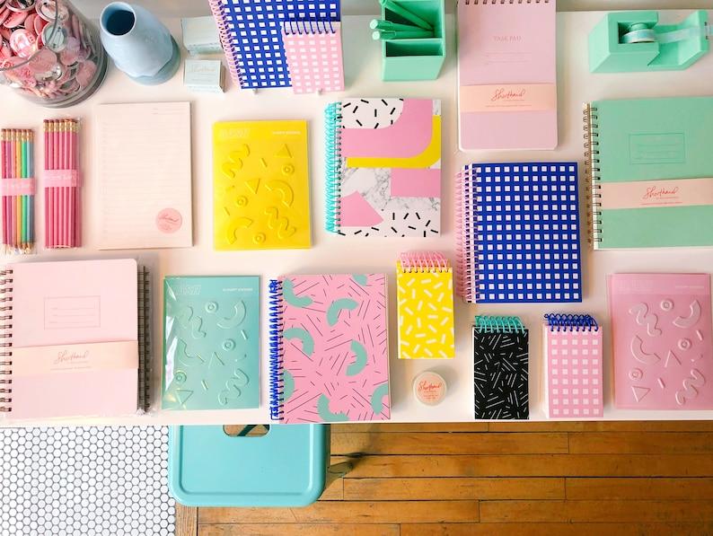 journal cobalt pink rule fun 80/'s school notebook lay flat list pad Lined Memphis Grid Spiral Notebook sketchbook Windowpane Notebook