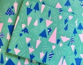 Festive Forest Holiday Gift Wrap - Winter Wrapping Paper - pastel pink bright teal trees winter wonderland retro modern 50s kitsch
