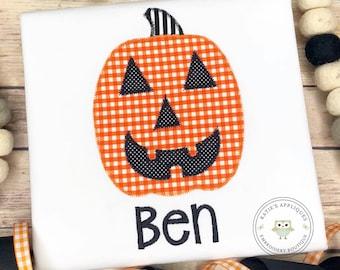 932accf2 Pumpkin Applique Shirt, Jackolantern, Boys shirt, Halloween, Boys Halloween  Shirt, Boy, Fall, Applique, ,Monogrammed, Embroidered