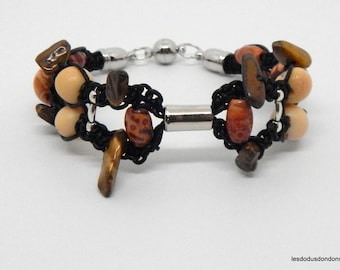 Leather Bracelet stone Tiger eye, wood beads, seeds, woman, ethnic