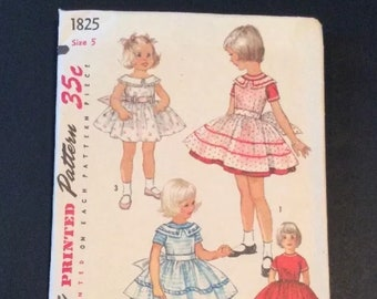 Simplicity Printed Sewing Pattern 1825 Vtg Girls Dress Pinafore Sz 5 Above Knee