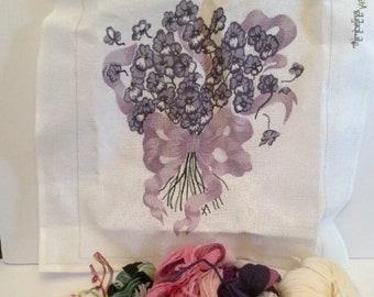 Violet Nosegay Hand Painted Needlepoint Canvas Kit Yarn Purple Flower Thimbelina