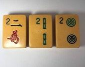 Vintage Upcycled Mahjong Tile Magnet Set of 3 Two Dot Bamboo Character 2