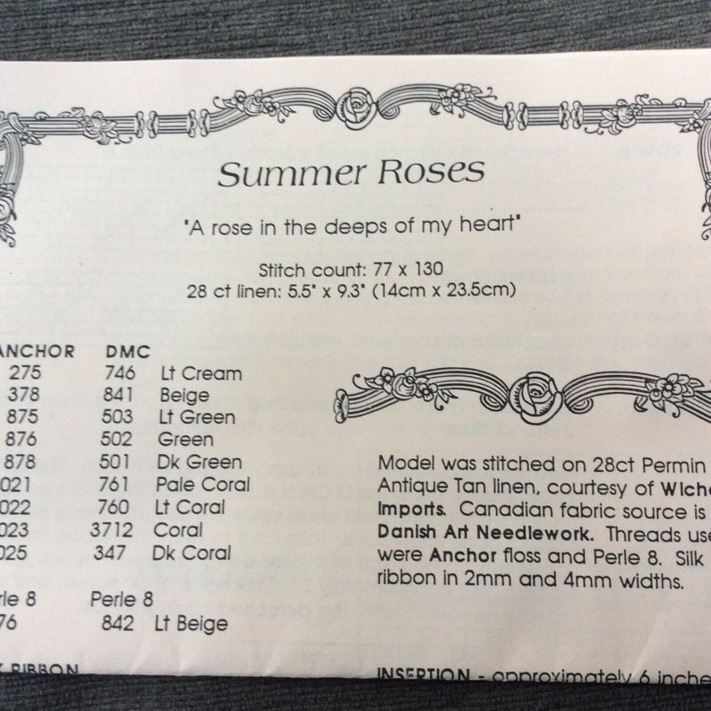 Charland Designs Summer Roses Cross Stitch Chart Pattern Ribbon Heart Charm