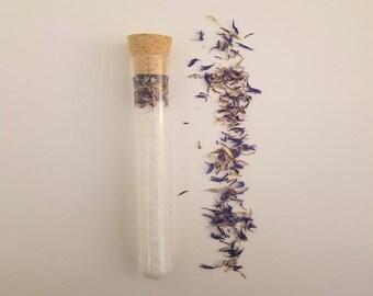 Wedding bath salt favors vials tubes. Dead sea salt with blue cornflowers bath salt favours