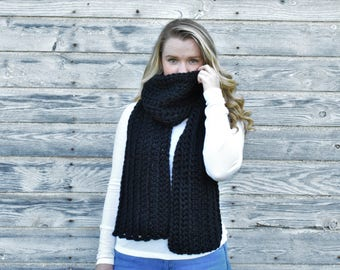 Crochet Scarf, Chunky Scarf + The Posie Scarf + BLACK + Open Ended Scarf