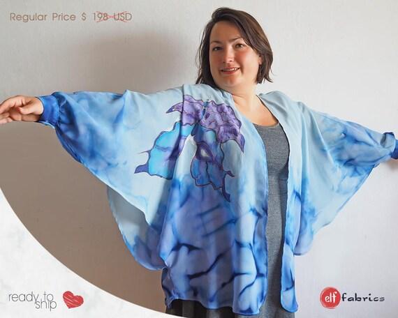 hand bemalt boutique kimono strickjacke mit schmetterling etsy. Black Bedroom Furniture Sets. Home Design Ideas