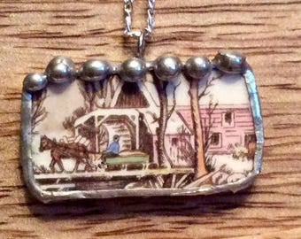 BROKEN CHINA Edward M Kowles China, Antique, Old, Vintage, Recycled Dishes, Sterling, Silver, Glass Beads,