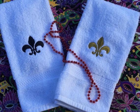 Fleur De Lis Hand Towel Embroidered Towel Etsy