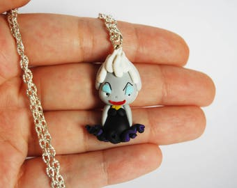 Last piece! Outlet!  Ursula Little Mermaid Necklace in Fimo