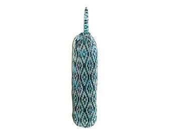 Aztec Print, Blue Bag Holder, Plastic Bag Storage, Hanging Bag Holder, Aqua  Navy White, Diamond Print, Closet Storage, Bag Dispenser