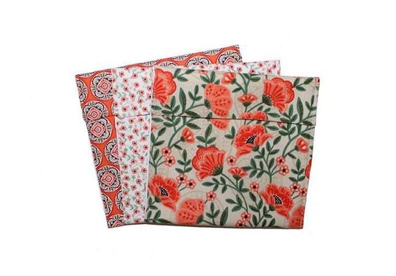 a39727ebb5a3 Floral Snack Bag, Orange Green, Teacher Gift, Teen Girl Gift, Coworker  Gift, Fold Top Baggies, Cloth Bag Set, Eco Sandwich Bags, Small Gift