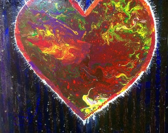 Heart in love - original mixed media oil acrylic glitter painting on canvas