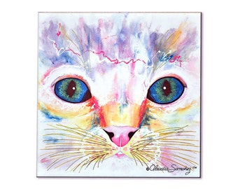 "Samantha's Kitten Eyes 4.25 x 4.25"" Decorative Ceramic Cat Art Tile"