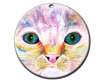 Samantha's Kitten Eyes Ceramic Cat Art Ornament
