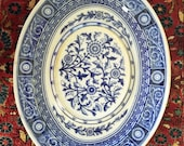 Antique Minton Meat Platter, Blue Transferware, English Chop Platter, Chinosserie Pattern, Late 1800s Early 1900s, Oval Platter
