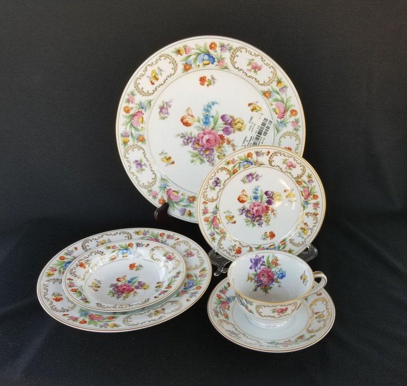 Spring China  Vintage Noritake China, Dresalda Pattern, Dresden Style  Flowers, Gold Scrollwork, 6 Piece Place Setting, 1940s Onward