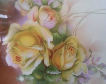 Antique ES Prussia Cabinet Plate, Hand Painted Yellow Roses, Fine Porcelain, Erdmann Schlegelmich, 1900 to 1910