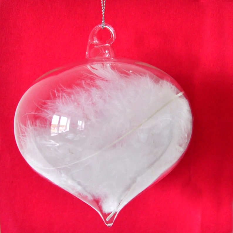 Clear Glass White Feather Sultan Shaped Valentine/'s Day Hanging Decoration Christmas Tree Ornament Gift Anniversary Wedding Winter Holiday