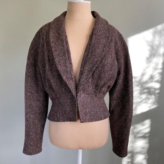 Vintage 1940s Cropped Tweed Jacket Blazer S