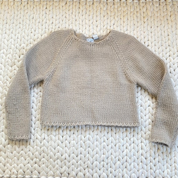 Vtg 90s Chunky Knit Beige Cropped Sweater   S/M