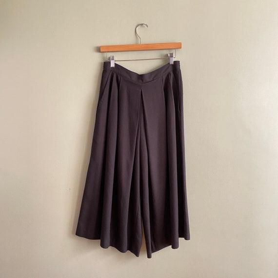 Vintage Black Pleated Culottes | Wide Leg Pleated