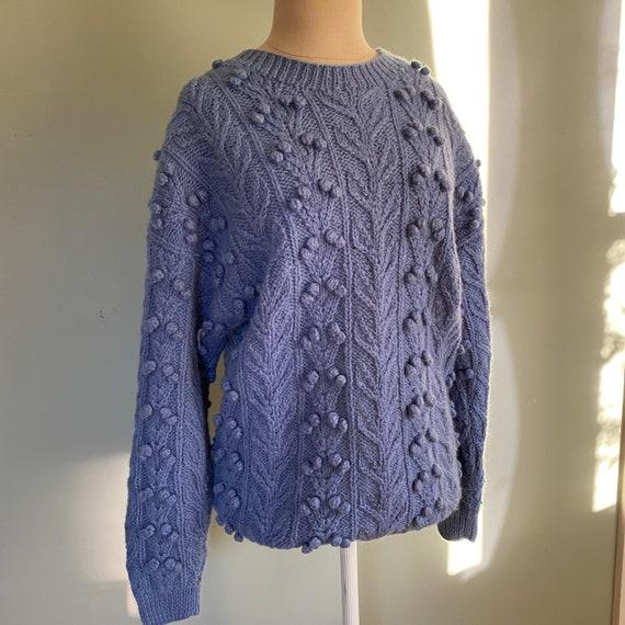 Vintage Blue Wool Popcorn Knit Sweater | Irish Fis