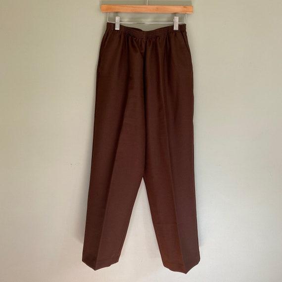 Vintage Cocoa Elastic High Waist Pants