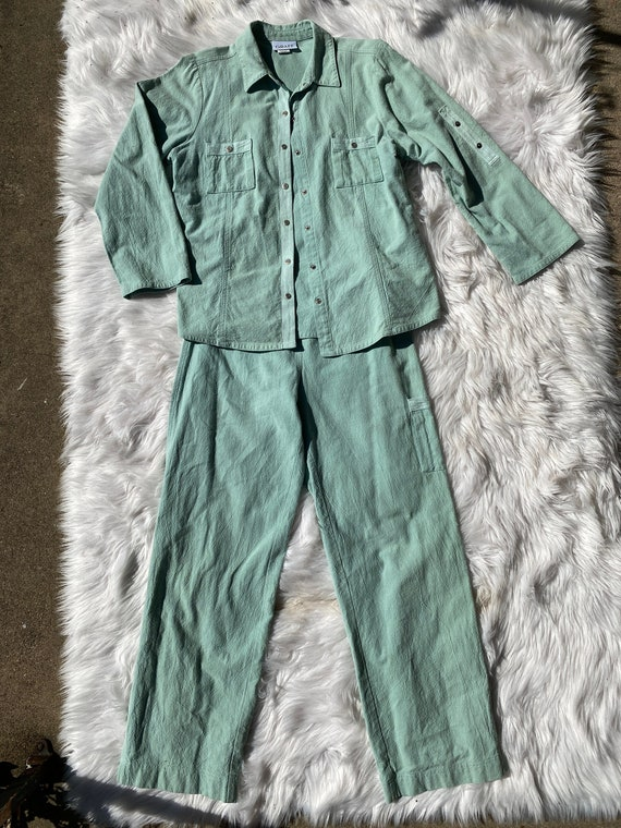 Vtg 2 pc Mint Green Relaxed Pant Suit Set
