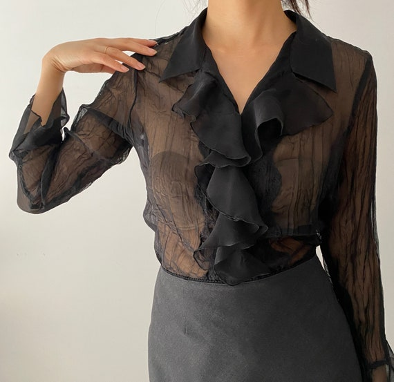 Vtg Sheer Black Lace Silk Ruffle Poet Blouse S/M