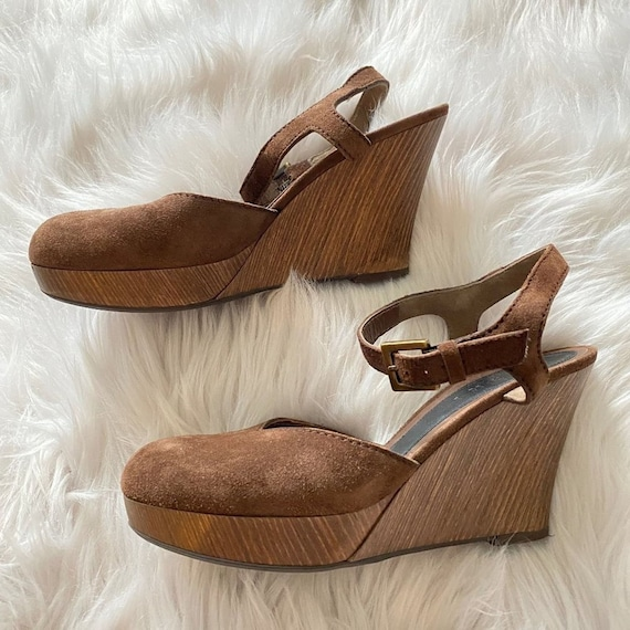 Authentic Marni Suede Wooden Mules Platforms