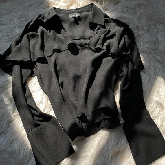 100% Silk Black Ruffle Blouse L