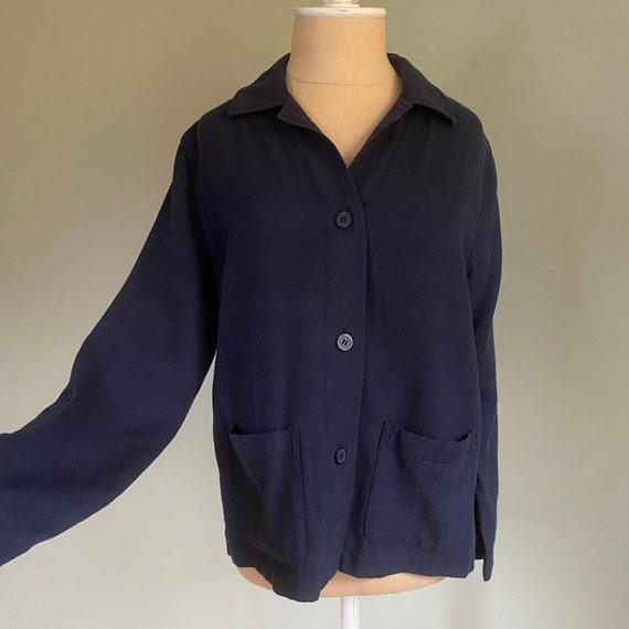 70s Vtg Navy Blue Chore Coat | Navy Utility Jacket
