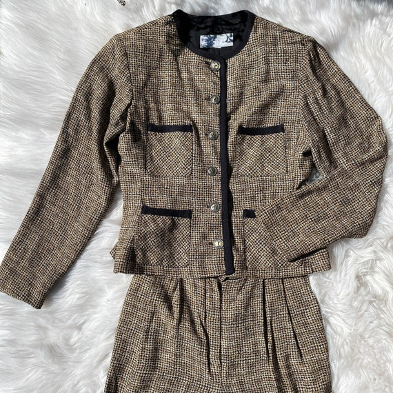 Vintage 2 pc Pant Suit Rayon Houndstooth XS/S