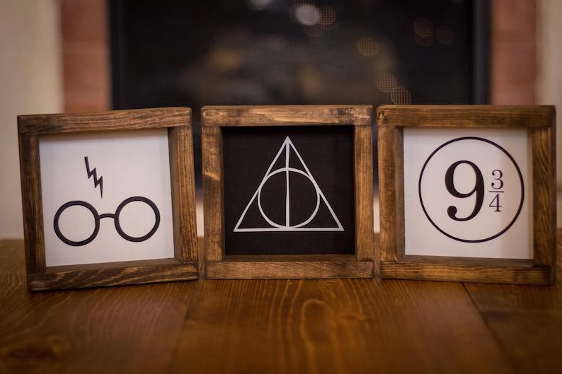 dorm decor Wood Sign Harry Potter Platform 9 and 34rustic farmhouse kids room decor office sign
