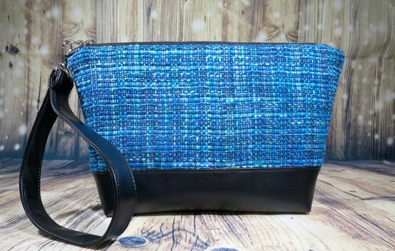 a11ca431962d Shades of Blue Tweed Wristlet Purse! A Perfect Project Bag, Wristlet Purse,  Cosmetic Bag, Cell Phone Wristlet, Medicine pouch, Diaper Clutch