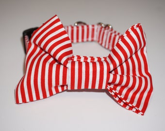 5d031853a51b Red / White Stripe Dog Bow Tie